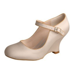 ELLEN-190 Beige Bridal Shoes Mary Jane Wedges