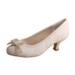 ELLEN-003A Ivory Bridal Shoes Satin Lace Robbin Bow Pumps