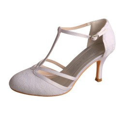 ELLEN-605 White Satin Lace Bridal Shoes T-Bar Pumps 8cm Heel