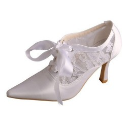 ELLEN-478 White Satin Lace Bridal Shoes Mary Jane Lace Ribbon Booties