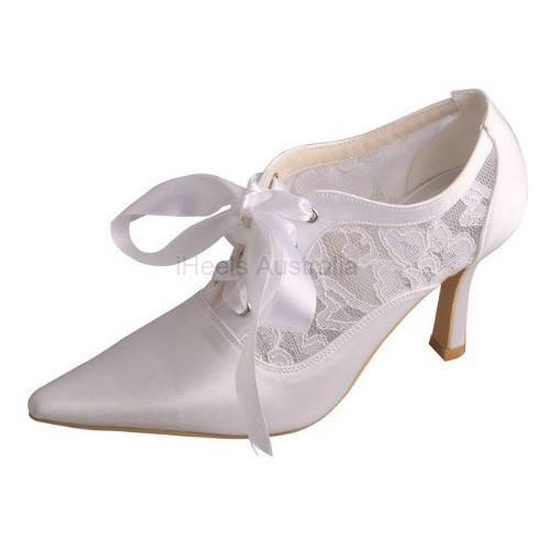ELLEN-V78 White Satin Lace Bridal Shoes Mary Jane Lace Ribbon Booties