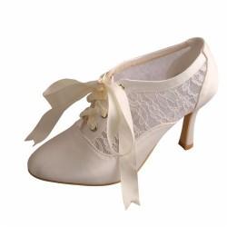 ELLEN-V74 Bridal Ivory Satin Lace Almond Toe Ribbon Up High Heel Booties