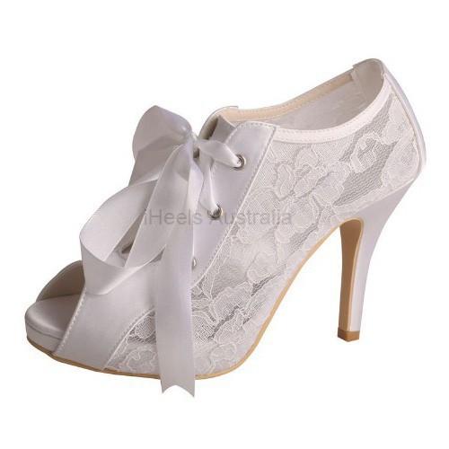 ELLEN-V75 White Satin Lace Bridal Shoes Peep Toe Lace Ribbon Booties