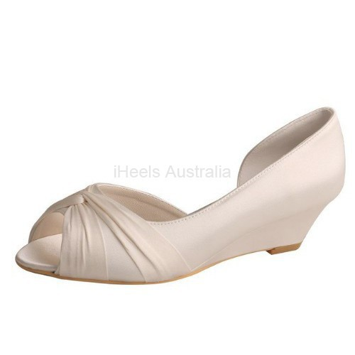 ELLEN-494 Beige Satin Bridal Shoes D'Orsay Cross Tie Wedges 4.5cm Heel
