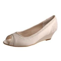 ELLEN-366 Retro Ivory Satin Lace Open Toe Wedges Bridal Shoes