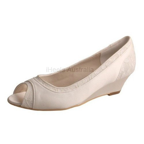 ELLEN-366 Ivory Satin Lace Bridal Shoes Peep Toe Wedges