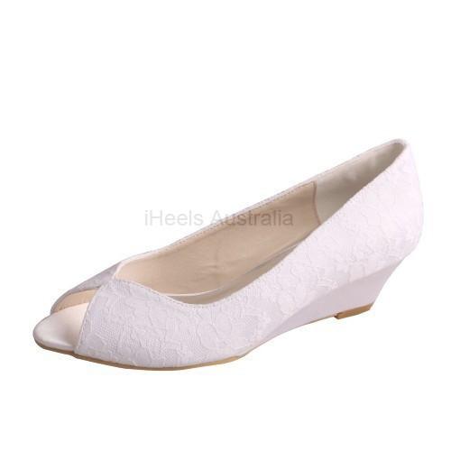ELLEN-407 White Satin Lace Bridal Shoes Peep Toe Wedges