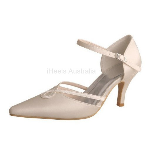 ELLEN-7053 Beige Satin Bridal Shoes Twisted Strap Pointy Pumps 7.5cm Heel