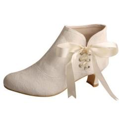 ELLEN-V98 Bridal Shoes Ivory Satin Side Lace Up Louise Heel Ankle Boots