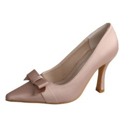 ELLEN-68 Nude Satin Wedding Shoes Butterfly Knot Pointy Pumps 9cm Heel