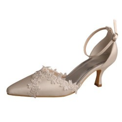 ELLEN-831 Ivory Satin Wedding Shoes Embroidery Pointy Pumps 6.5cm Heel