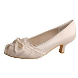 ELLEN-636 Ivory Satin Ribbon Bow Peep Toe Lace Trim Low Heel Bridal Shoes