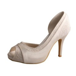 ELLEN-702 Ivory Wedding Shoes D'Orsay Retro Lace Mini Platform 10cm Heel