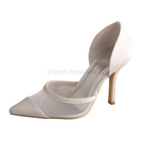 ELLEN-457 Ivory Satin Wedding Shoes D'Orsay Mesh Pointy Pumps 9.5cm Heel
