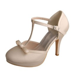 ELLEN-7055 Beige Satin Wedding Shoes T-Bar Knot 10cm Heel