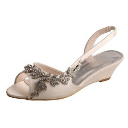 ELLEN-368 Ivory Satin Wedding Shoes Baroque Diamante Sandal Wedges