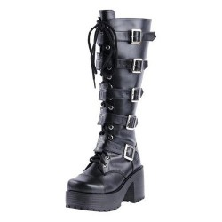 Concord-701 Black Buckle Gothic Punk Lolita Knee Boots