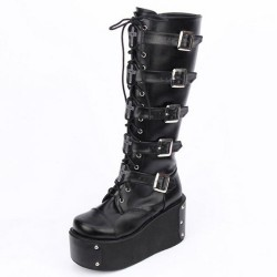 Concord-708 Black Buckle Gothic Punk Lolita Platform Knee Boots