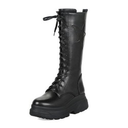 Concord-36 Black Punk Lace Up Platform Mid Calf Boots