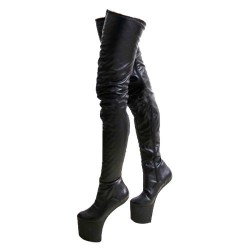 BALLET-83 Heelless Ballet Thigh Boots Zip Up