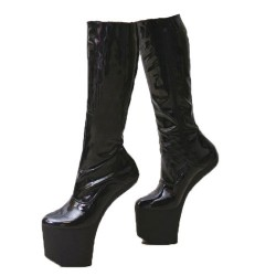 BALLET-84 Heeless Ballet Knee Boots Zip Up
