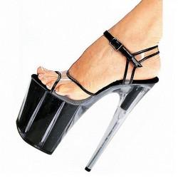 "ALLURE-2001 Clear Black Trim Platform 20cm 8"" Heel Sandals"