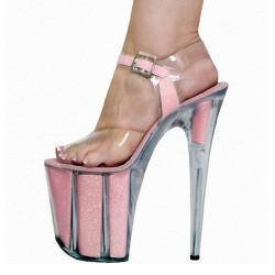 "ADORE-2001 Pink Glitter Ankle Strap Platform 20cm 8"" Heel Sandals"