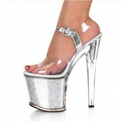 """ADORE-2002 Silver Ankle Strap Shimmery Platform 20cm 8"""" Heel Sandals"""