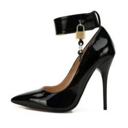 SEDUCE-12L Black 12cm Heels Locking Ankle Strap
