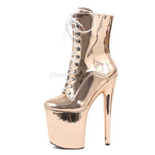 BEYOND-2010 Holographic Ankle Boots 20cm Heel