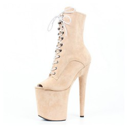 GAGA-2020PT Pole Dance Shoes Peep Toe Ankle Boots 20cm Heel