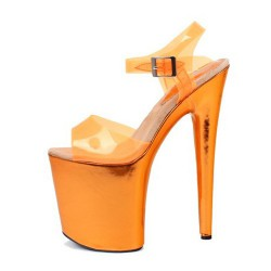 Pole Dancing Orange Sandals 20cm Heel 10cm Platform