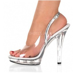 ADORE-SC1301 Wedding Dancer Sling Back Sandals Silver/Clear