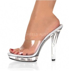"iHeels Dancing Party Silver Glitter Clear Sandal Slides 5"" 13cm Heel"