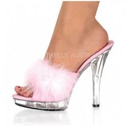 """ALLURE-1304 Pink Fur Clear 13cm 5"""" Heel Slip-Ons Slippers"""