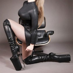 "BDSM Fetish Thigh Boots 12"" 30cm Metal Heel"