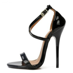 "LULU-1302 Cross Straps Sandals 5.1"" Heel"