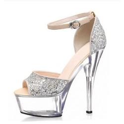 ALLURE-SG15 Ankle Strap Silver Glitter