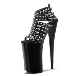 "FLAMINGO-20BBCS Cage Studs Strappy Black Platform 8"" Heel Sandals"