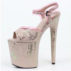 """FLAMINGO-20SG Pink Snake Glitter Platform 20cm 8"""" Heel Sandals"""