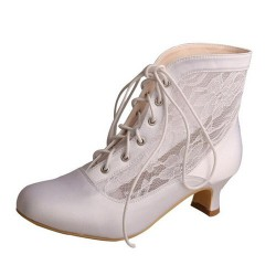 ELLEN-791 Satin Lace Up Ankle Boots