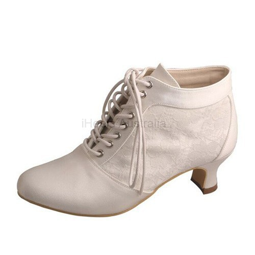ELLEN-792 Satin Lace Ankle Boots