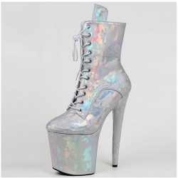 "BEYOND-2021 Silver Patterned Holographic Ankle Boots 8"" Heel"