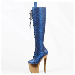 DELIGHT-2020 Snake Metallic Knee Boots