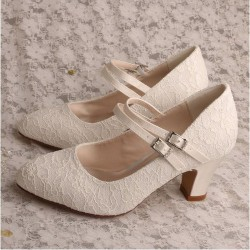 ELLEN-V70 Twin Straps Mary Jane Lace Pumps