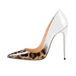 ELLIE-120LW Leopard White Stiletto Heel Pumps