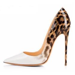 ELLIE-120WL White Leopard Stiletto Heel Pumps