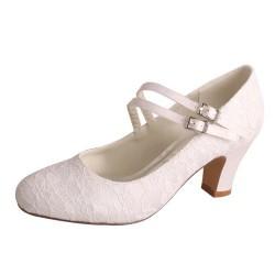ELLEN-V70 White Satin Lace Twin Straps Mary Jane Block Heels