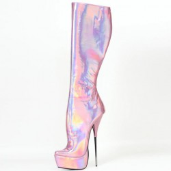 "SCREAM-S9 Holographic Ballet Knee Boots 8"" Metal Heel"