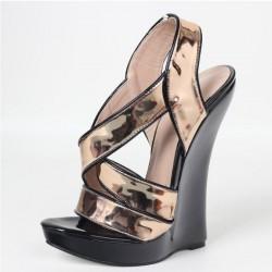 GAGA-18GB Gold/Black Platform 18cm Wedge Heel Sandals